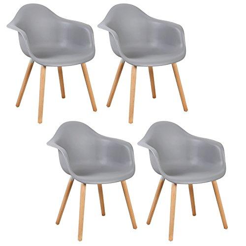 WOLTU® 4er Set Esszimmerstühle Küchenstuhl Design Stuhl Esszimmerstuhl mit Lehne Kunststoff Holz BH37-4