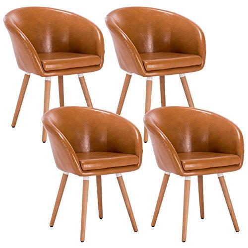 WOLTU® 4er Set Esszimmerstühle Stuhlgruppe Küchenstühle Wohnzimmerstühle Polsterstühle Design Stuhl mit Armlehne und Rückenlehne, mit Holzbeinen, Sitzfläche aus Kunstleder, Braun, BH73br-4
