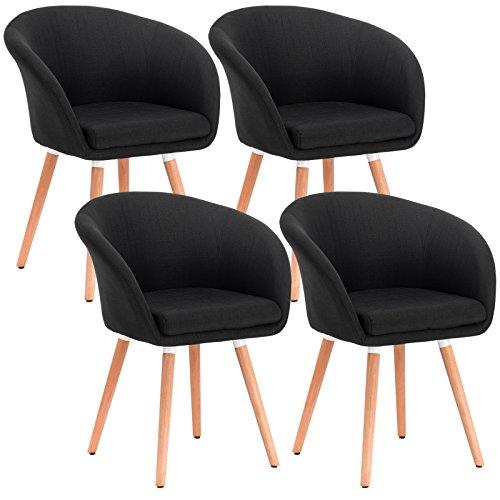 WOLTU-4er-Set-Esszimmersthle-Stuhlgruppe-Kchensthle-Wohnzimmersthle-Polstersthle-Design-Stuhl-mit-Armlehne-und-Rckenlehne-mit-Holzbeinen-Sitzflche-aus-StoffbezugLeinen-Schwarz-BH74sz-4-0