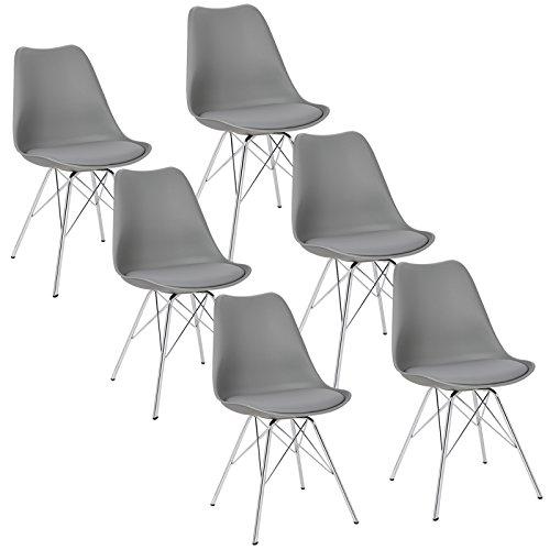 WOLTU® 6 x Esszimmerstühle 6er Set Esszimmerstuhl Küchenstuhl Polsterstuhl Design Stuhl mit Sitzfläche aus Kunstleder, Gestell aus verchromtem Stahl, BH05-6