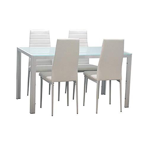 Esstisch Stuhl Set Essgruppe Tischgruppe Esstischgruppe Sitzgruppe Esszimmergarnitur Glas Metall Esstisch
