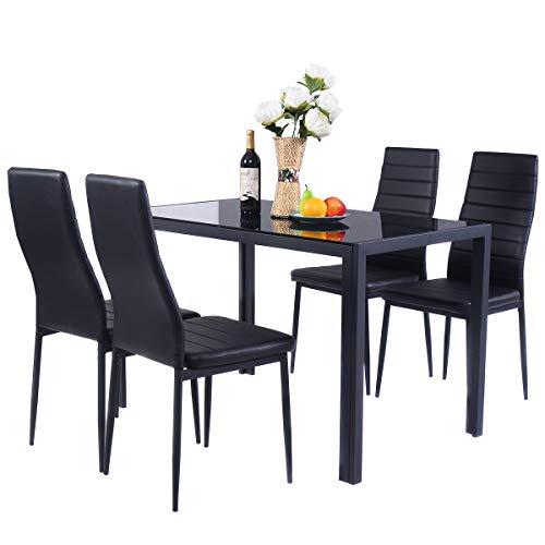 COSTWAY Stuhlset Essgruppe Sitzgruppe, Tischgruppe inkl. 4 Stühle, Esstischset Kunstleder, Esszimmergruppe schwarz