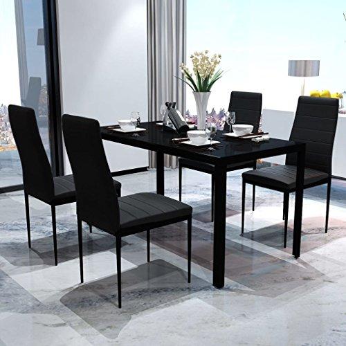 Festnight- 5tlg. Essgruppe mit 4 Esszimmerstühle | Esstisch Essstuhl Set Küchenm?Bel Sitzgruppe Esszimmergruppe Schwarz