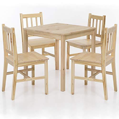 FineBuy Esszimmer-Set Emilio 5 teilig Kiefer-Holz Landhaus-Stil 70 x 73 x 70 cm | Natur Essgruppe 1 Tisch 4 Stühle | Tischgruppe Esstischset 4 Personen | Esszimmergarnitur massiv