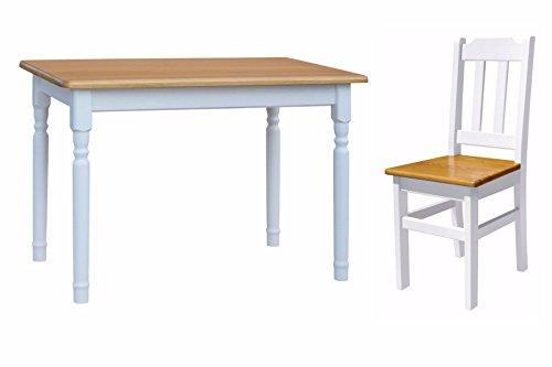 KOMA Essgruppe Kiefer Holz 120 cm x 70 cm Tisch und 4 Stühle Landhausstil