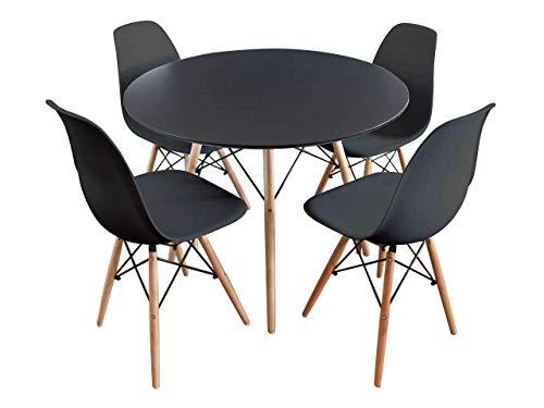 Mirjan24  Essgruppe, Tisch Fiorino Runde + 4X Stühle Fiore, Esstisch mit Stuhl Set, Sitzgruppe, Tischgruppe, Küchentisch mit 4 Stühlen
