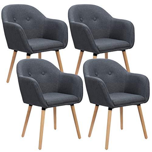 WOLTU 4 x Esszimmerstühle 4er Set Esszimmerstuhl Küchenstuhl Polsterstuhl Design Stuhl mit Armlehne, mit Sitzfläche aus Leinen, Gestell aus Massivholz, Dunkelgrau BH94dgr-4