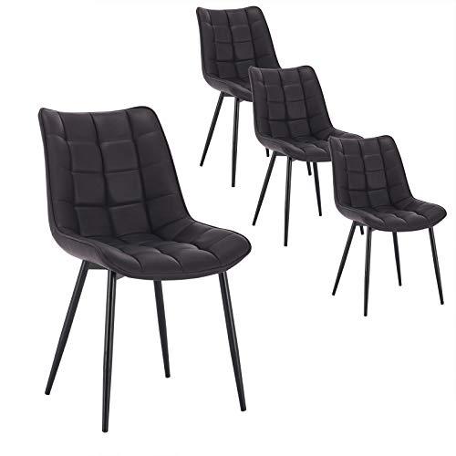 WOLTU 4 x Esszimmerstühle 4er Set Esszimmerstuhl Küchenstuhl Polsterstuhl Design Stuhl mit Rückenlehne, Gestell aus Metall, BH142-4