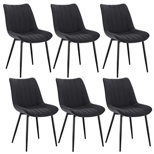 WOLTU 6 x Konferenstuhl 6er Set Esszimmerstühle Esszimmerstuhl Küchenstuhl Polsterstuhl Design Stuhl mit Rückenlehne, mit Sitzfläche aus Leinen/Samt, Gestell aus Metall, BH211-6