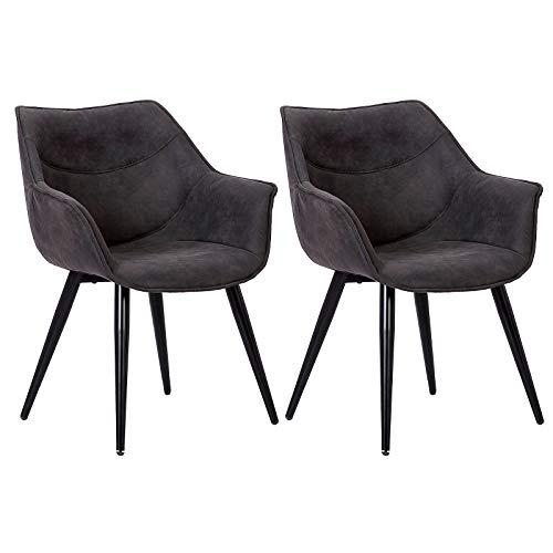 WOLTU Esszimmerstühle #1179 2er Set Küchenstühle Wohnzimmerstuhl Polsterstuhl Design Stuhl mit Armlehne Gestell aus Stahl