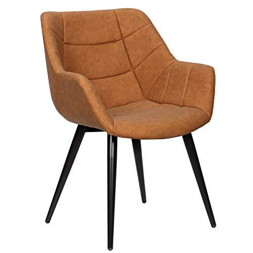 WOLTU Esszimmerstühle #1391 1x Küchenstuhl Wohnzimmerstuhl Polsterstuhl mit Armlehen Design Stuhl Kunstleder/Samt Metall
