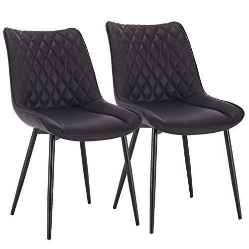 WOLTU® Esszimmerstühle #1546 2er Set Küchenstuhl Polsterstuhl Wohnzimmerstuhl Sessel mit Rückenlehne, Metallbeine