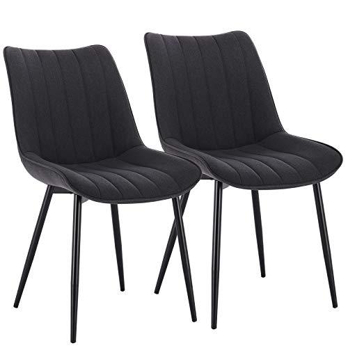 WOLTU® Esszimmerstühle #1576 2er Set Küchenstuhl Polsterstuhl Wohnzimmerstuhl Sessel mit Rückenlehne, Sitzfläche aus Leinen/Samt, Metallbeine