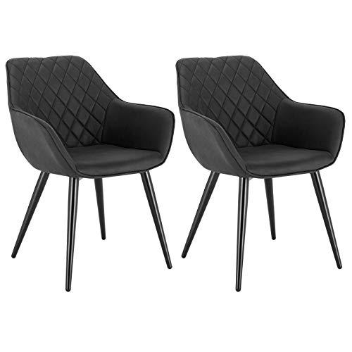 WOLTU Esszimmerstühle BH152-2 2er Set Küchenstühle Wohnzimmerstuhl Polsterstuhl Design Stuhl mit Armlehne Leinen/Samt Gestell aus Stahl